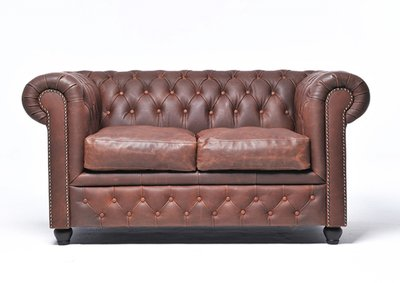Auténtic Chesterfield Vintage Sofá   2 plazas   Marrón   12 años de garantía