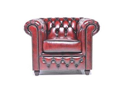 Sillón Chesterfield Original | cuero |Rojo gastado | 12 años de garantía