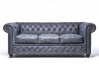 Auténtic Chesterfield Vintage Sofá | 3 plazas | Cuero | Negro | 12 años de garantía