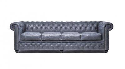 Auténtico Chesterfield Vintage Sofá   4  plazas   Cuero   Negro   12 años de garantía