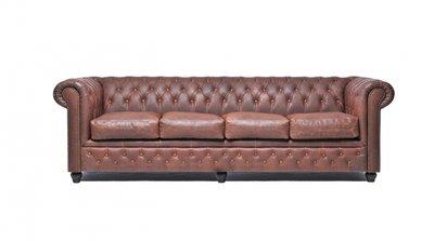 Auténtico Chesterfield Vintage Sofá   4 plazas   Cuero   Marrón   12 años de garantía