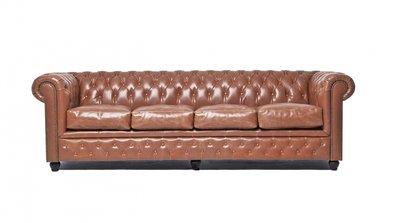 Auténtico Chesterfield Vintage Sofá | 4 plazas | Cuero | Moca | 12 años de garantía