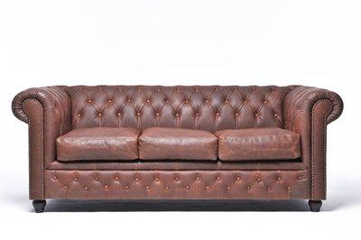 Auténtico Chesterfield Vintage  Sofá | 3 plazas | Cuero | Marrón | 12 años de garantía