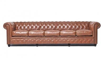 Auténtic Chesterfield Vintage Sofá  5 plazas   Cuero   Moca   12 años de garantía