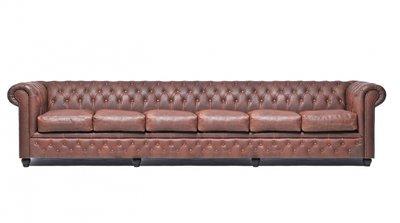 Auténtic Chesterfield Vintage Sofá | 6 plazas | Cuero | Marrón | 12 años de garantía