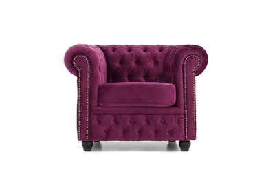 Sillón Chesterfield Original  | Terciopelo Púrpura Claro | 12 años de garantía