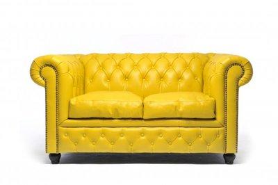 Auténtic Chesterfield Sofá |2 plazas | Cuero | Amarillo | 12 años de garantía