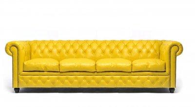 Auténtic Chesterfield Sofá | 4 plazas | Cuero | Amarillo | 12 años de garantía