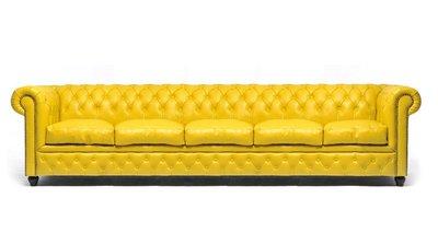 Auténtic Chesterfield Sofá | 5 plazas | Cuero | Amarillo | 12 años de garantía