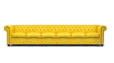 Auténtic Chesterfield Sofá | 6 plazas | Cuero | Amarillo | 12 años de garantía