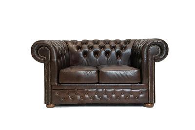 Chesterfield Sofá First Class | 2-plazas | Cuero | marrón oscuro | 5 años de garantía