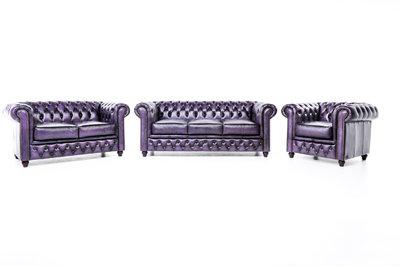 Chesterfield Sofá Original Cuero |1 + 2 + 3 plazas | Púrpura Gastado | 12 años de garantía