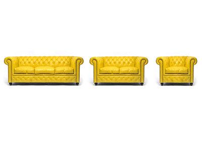 Chesterfield Sofá Original Cuero |1 + 2 + 3 plazas | Amarillo | 12 años de garantía