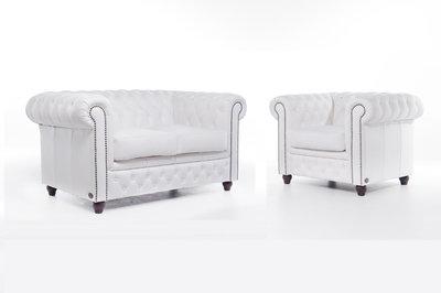 Chesterfield Sofá Original Cuero  1 + 2 plazas   Blanco   12 años de garantía