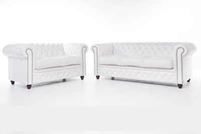Chesterfield Sofá Original Cuero |2 + 3 plazas | Blanco | 12 años de garantía