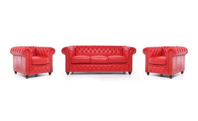 Chesterfield Sofá Original Cuero |1 + 1 + 3 plazas | Rojo | 12 años de garantía