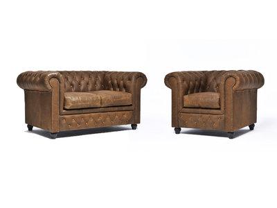 Chesterfield Sofá Vintage Cuero  1 + 2 plazas   Alabama C1059   12 años de garantía