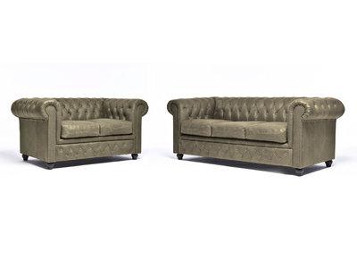 Chesterfield Sofá Vintage Cuero |2 + 3 plazas | Alabama C1057 | 12 años de garantía